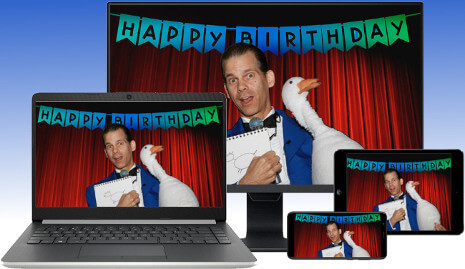 Virtual Birthday Party Magician, The Amazing Gary, streaming LIVE magic shows to your desktop, laptop, tablet or smartphone via Zoom videoconferencing!!