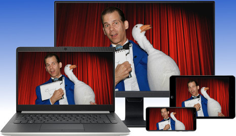 Virtual Magician, The Amazing Gary, streams LIVE magic shows to desktops, laptops, tablets and smartphones via Zoom videoconferencing!