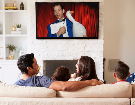 Virtual Magician performs a pre-recorded, personalized comedy magic show for kids and adults.