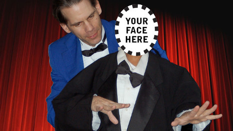 A member of the audience appears virtually dressed in a magician's tux and performs some magic!